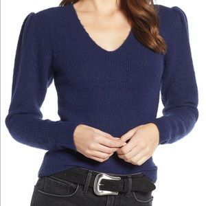 Navy blue Puff Sleeve Sweater